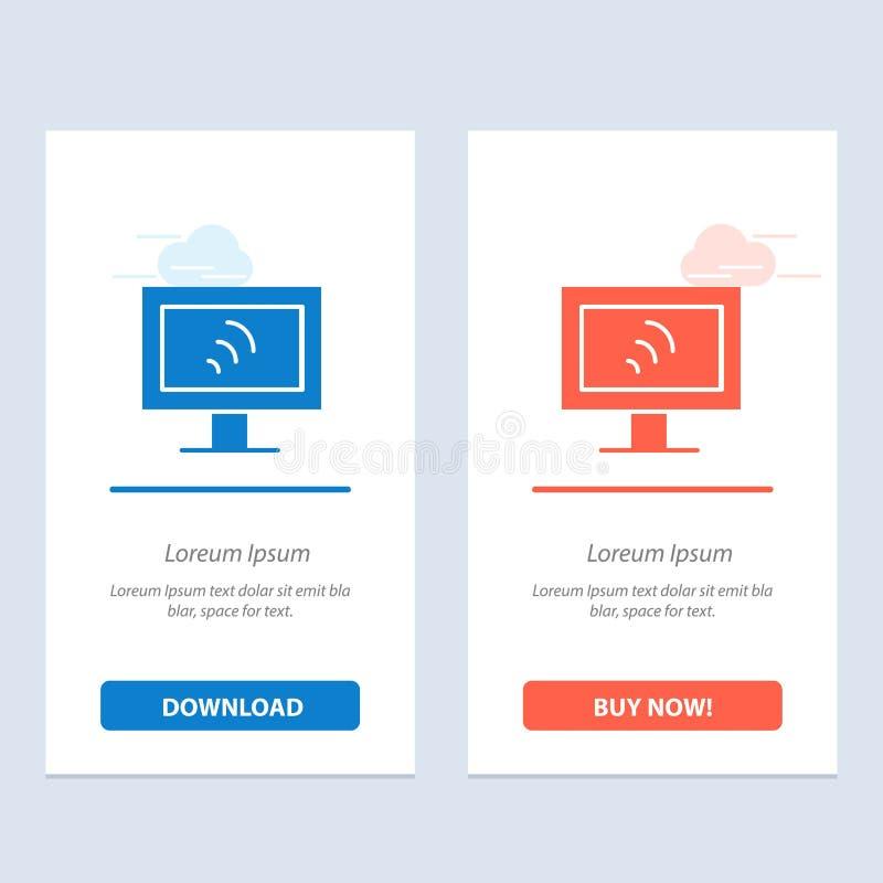 Komputer, Wifi, Usługowy sieci Widget karty szablon, Błękitnej, Czerwonej i ściągania i zakupu Teraz royalty ilustracja