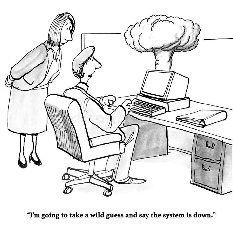 Komputer wybucha royalty ilustracja