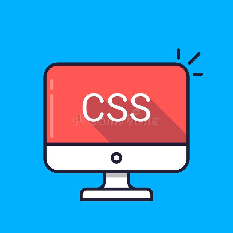 Komputer z CSS słowem na ekranie Spadać kaskadą stylów prześcieradła, stylu szkotowy językowy pojęcie Sieć rozwój, koduje ilustracji
