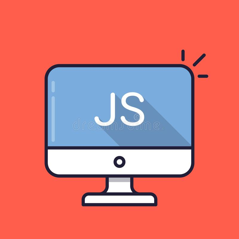 Komputer z JS słowem na ekranie JavaScripta język skryptowy Sieć rozwój, tworzy js pisze scenariusz, kodujący, uczący się ilustracji