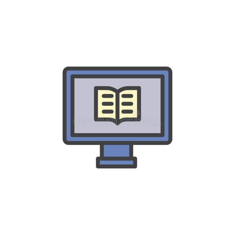 Komputer z książka wypełniającą kontur ikoną ilustracji