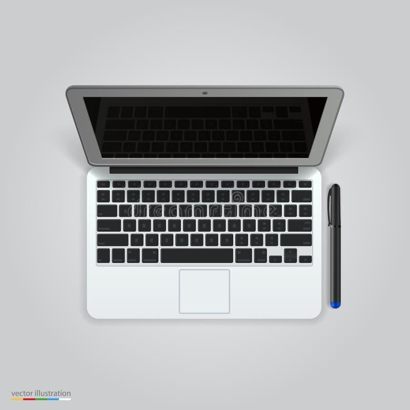 Komputer z piórem wektor ilustracji
