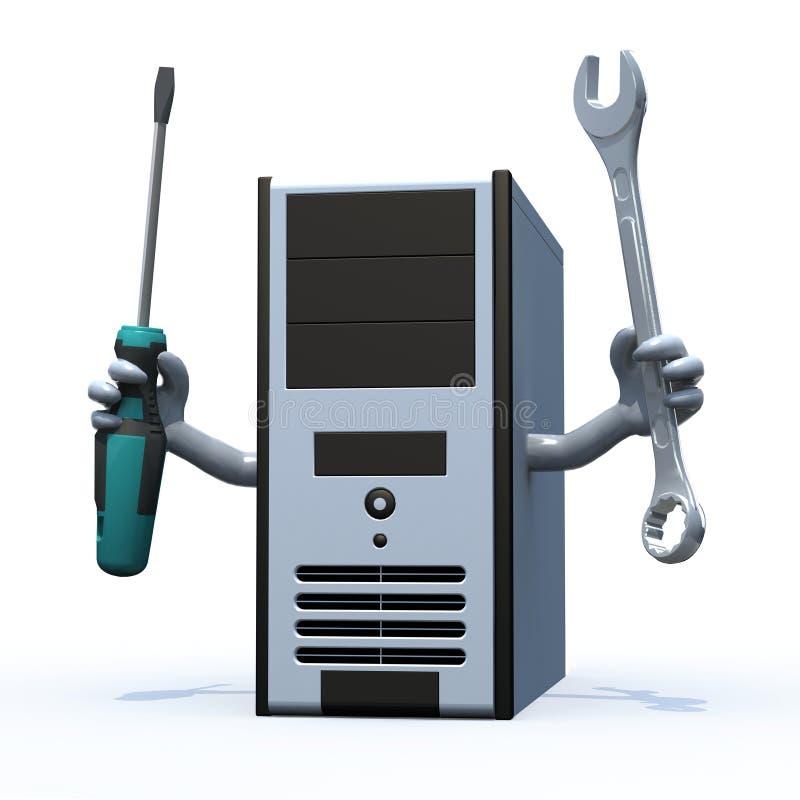 Komputer z rękami i narzędziami na rękach ilustracja wektor