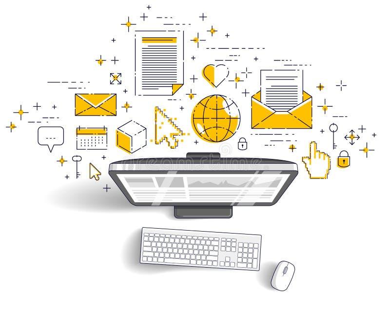 Komputer z statystyki infographics i setem ikony, online biznes, internetów elektroniczni finanse ilustracji
