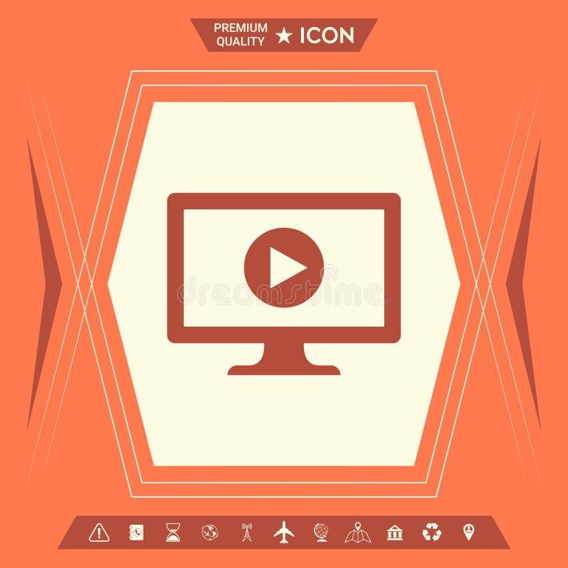 Komputer z sztuka guzika ikoną royalty ilustracja