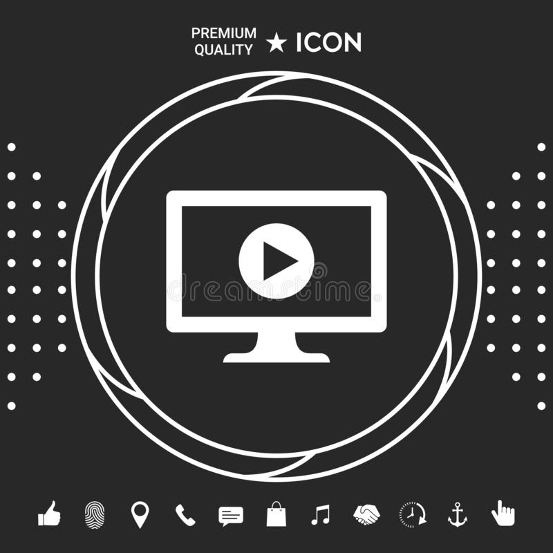 Komputer z sztuka guzika ikoną ilustracji
