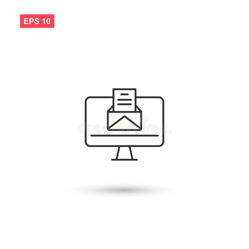 Komputer z wiadomości ikony vectoe odizolowywał 7 royalty ilustracja