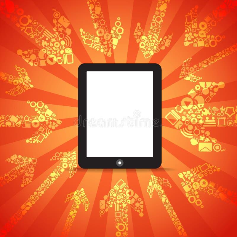 komputer zawartość medialny idzie mobilny nowożytny ilustracja wektor