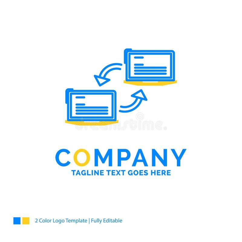 Komputer, związek, połączenie, sieć, synchronizacja Błękitny Żółty biznes L ilustracji