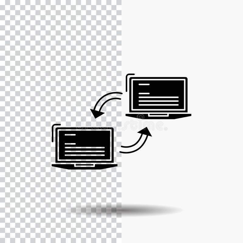 Komputer, związek, połączenie, sieć, synchronizacja glifu ikona na Przejrzystym tle Czarna ikona royalty ilustracja