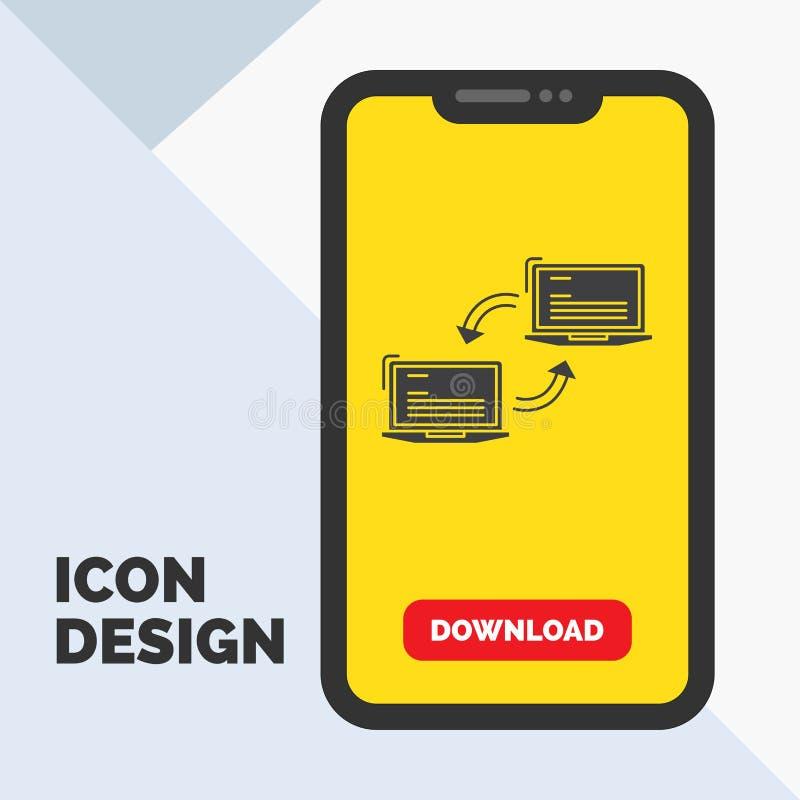 Komputer, związek, połączenie, sieć, synchronizacja glifu ikona w wiszącej ozdobie dla ściąganie strony ? royalty ilustracja