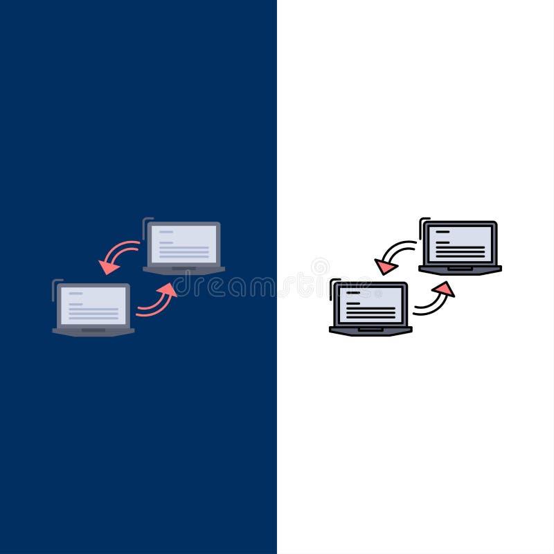 Komputer, związek, połączenie, sieć, synchronizacja koloru ikony Płaski wektor ilustracji