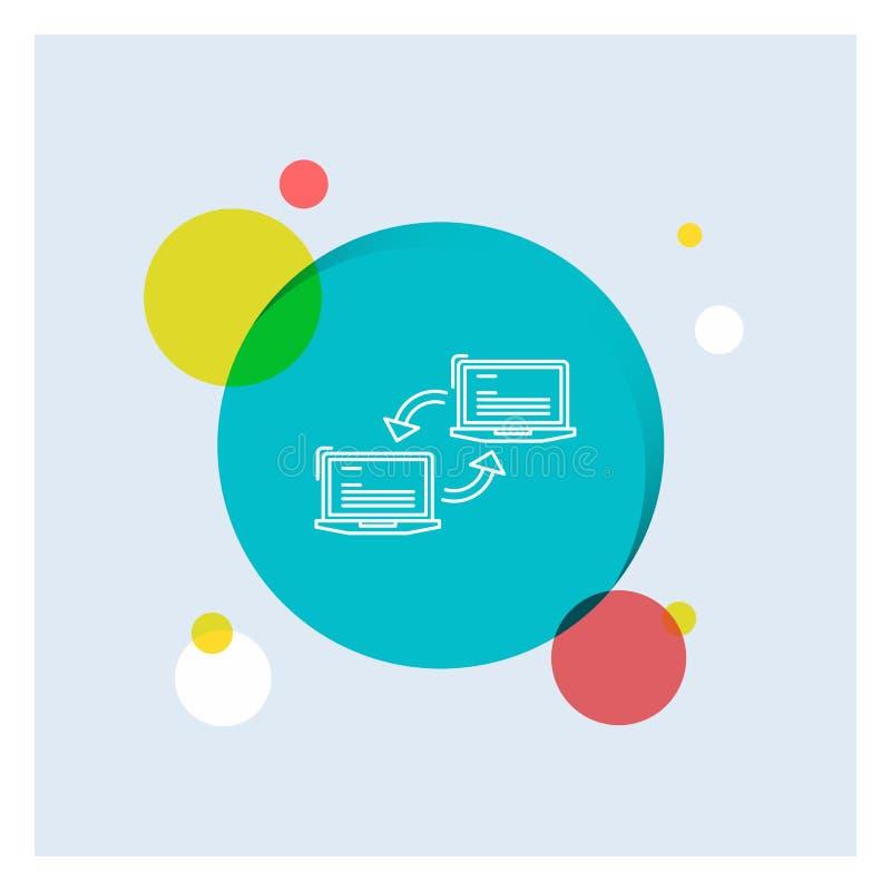 Komputer, związek, połączenie, sieć, synchronizacji Białej linii ikony okręgu kolorowy tło ilustracji