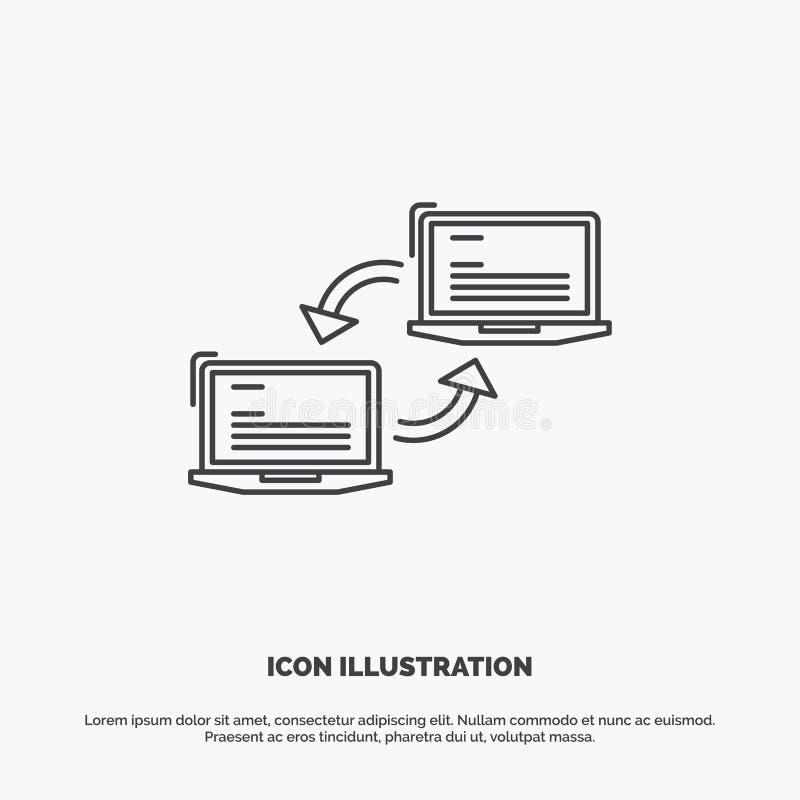 Komputer, związek, połączenie, sieć, synchronizacji ikona Kreskowy wektorowy szary symbol dla UI, UX, strona internetowa i wisz?c ilustracji