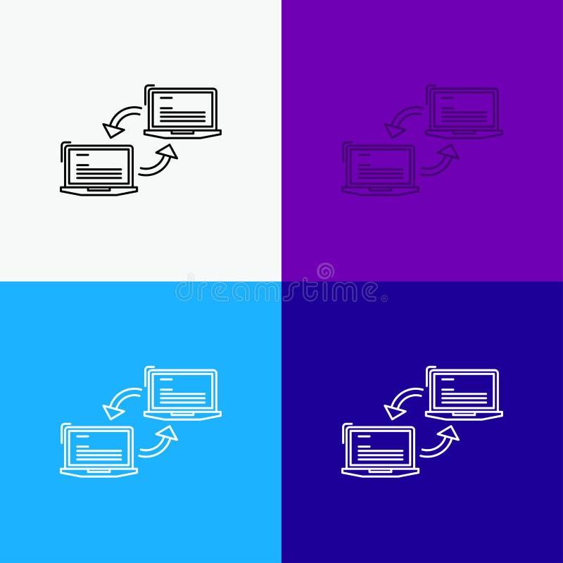 Komputer, związek, połączenie, sieć, synchronizacji ikona Nad Różnorodnym tłem Kreskowego stylu projekt, projektuj?cy dla sieci i royalty ilustracja