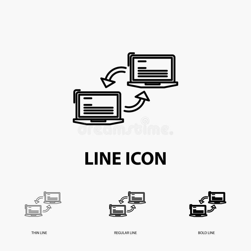 Komputer, związek, połączenie, sieć, synchronizacji ikona w Cienkim, Miarowym i Śmiałym Kreskowym stylu, r?wnie? zwr?ci? corel il ilustracji