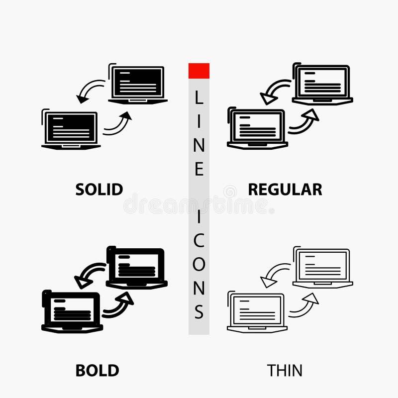Komputer, związek, połączenie, sieć, synchronizacji ikona w linii i glifie Cienkiej, Miarowej, Śmiałej, Projektuje r?wnie? zwr?ci ilustracja wektor