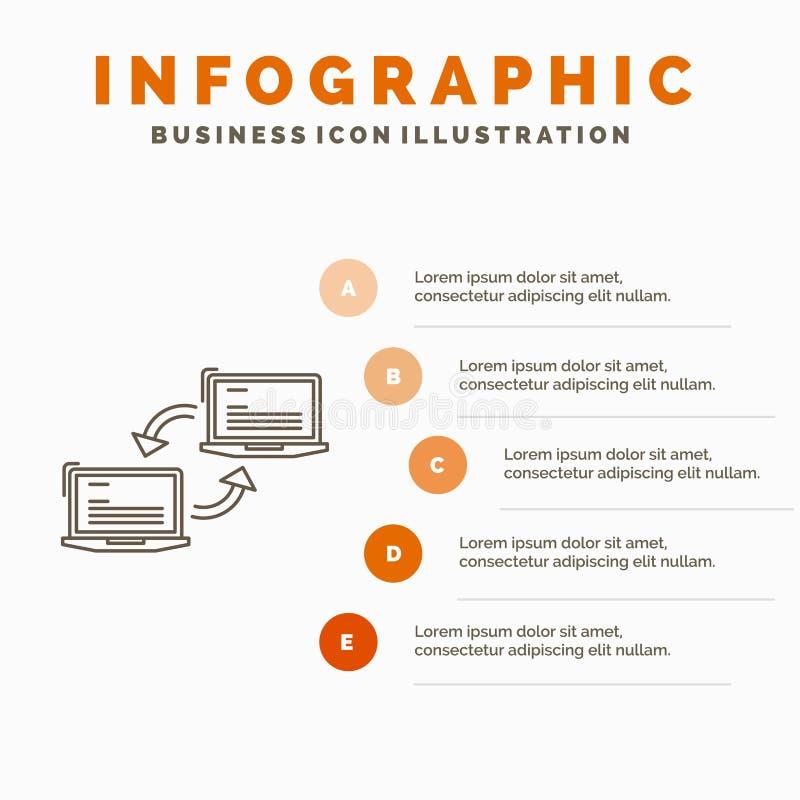 Komputer, związek, połączenie, sieć, synchronizacji Infographics szablon dla strony internetowej i prezentacja, Kreskowa Szara ik ilustracja wektor