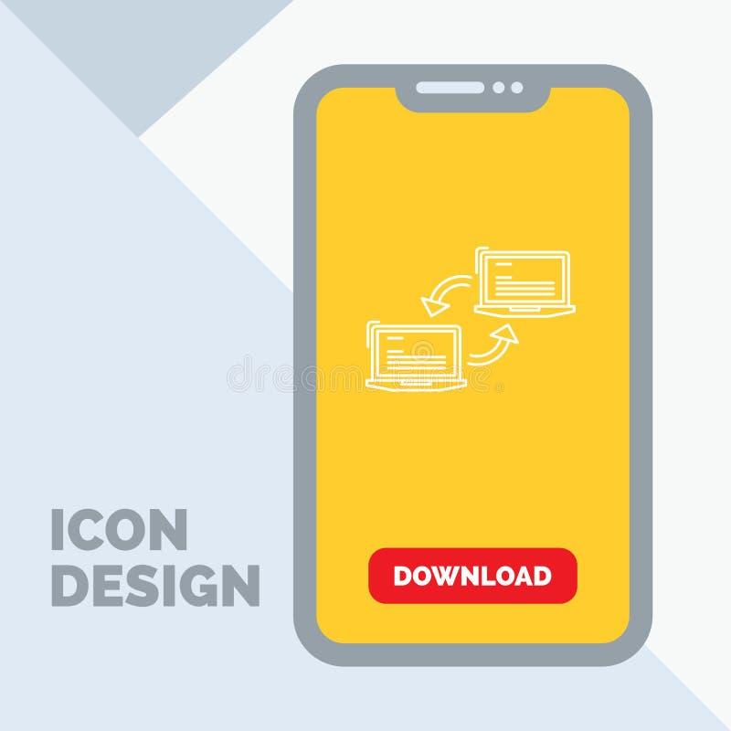 Komputer, związek, połączenie, sieć, synchronizacji Kreskowa ikona w wiszącej ozdobie dla ściąganie strony royalty ilustracja