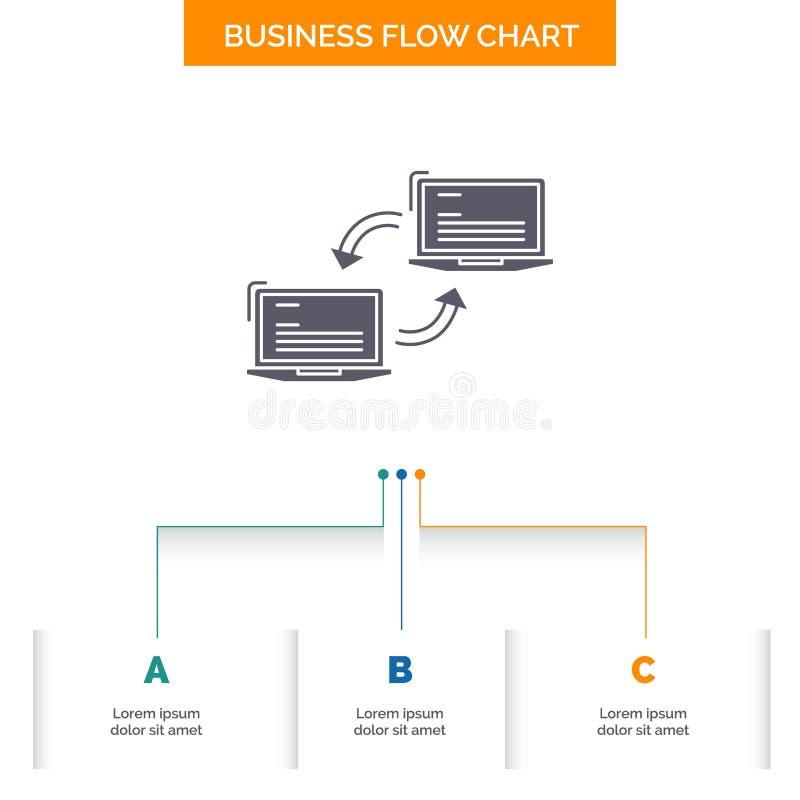 Komputer, związek, połączenie, sieć, synchronizacji Spływowej mapy Biznesowy projekt z 3 krokami Glif ikona Dla prezentacji t?a s royalty ilustracja