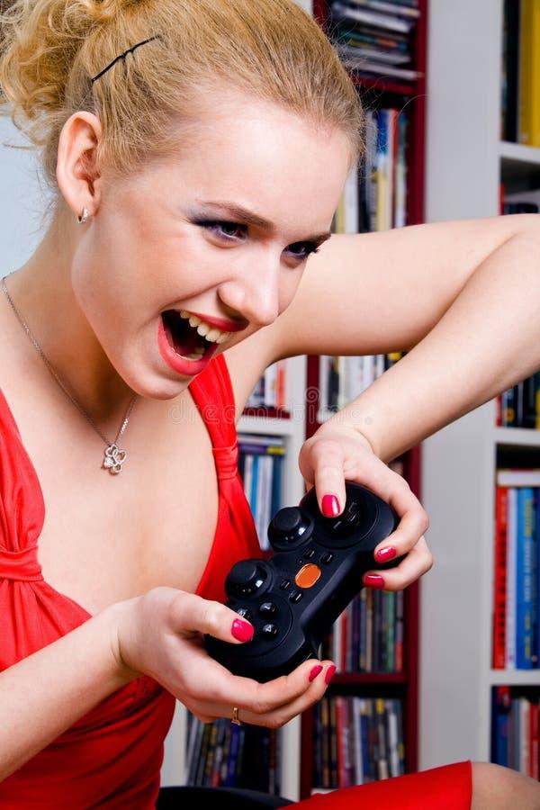 komputerowa śmieszna gemowa bawić się kobieta obrazy stock