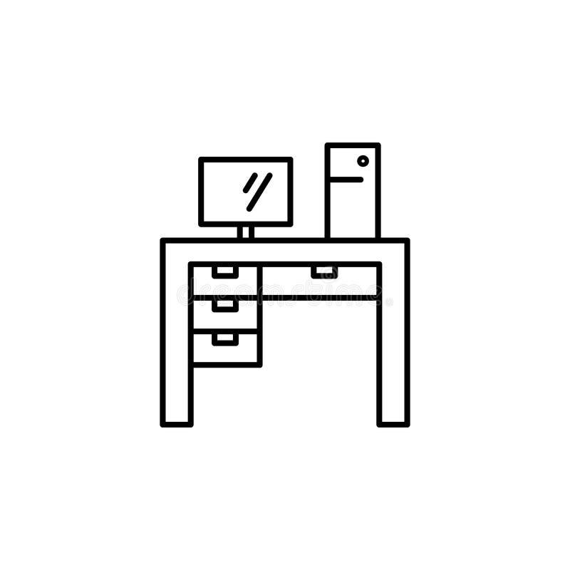 Komputerowa biurko ikona Element meble dla mobilnych pojęcia i sieci apps Cienka kreskowa ikona dla strona internetowa projekta i ilustracja wektor