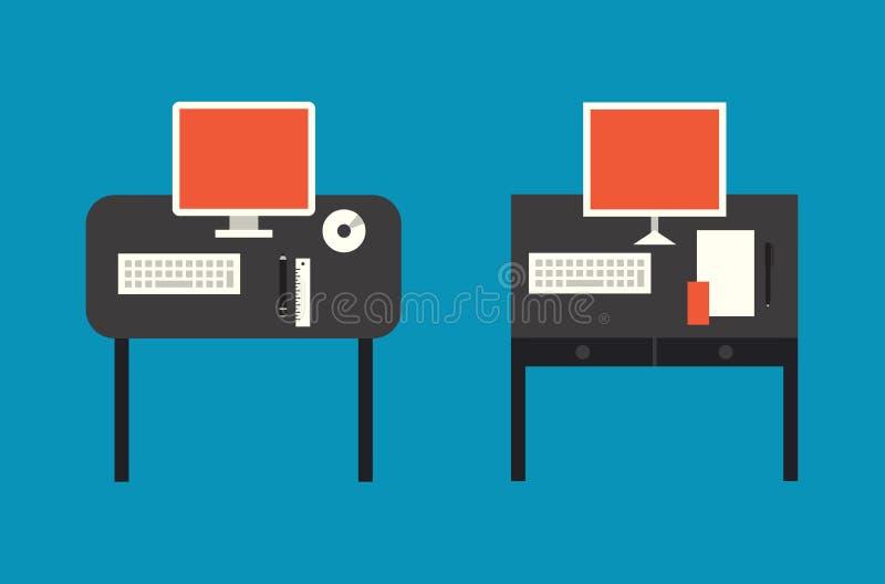 Komputerowa desktop mieszkania ilustracja royalty ilustracja