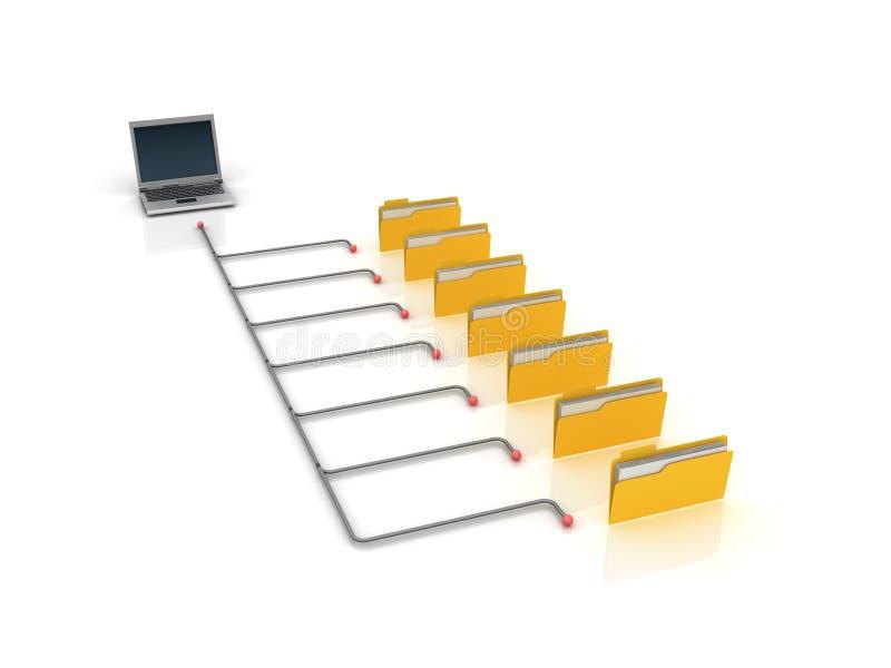 Komputerowa falcówki struktura z laptopem ilustracja wektor