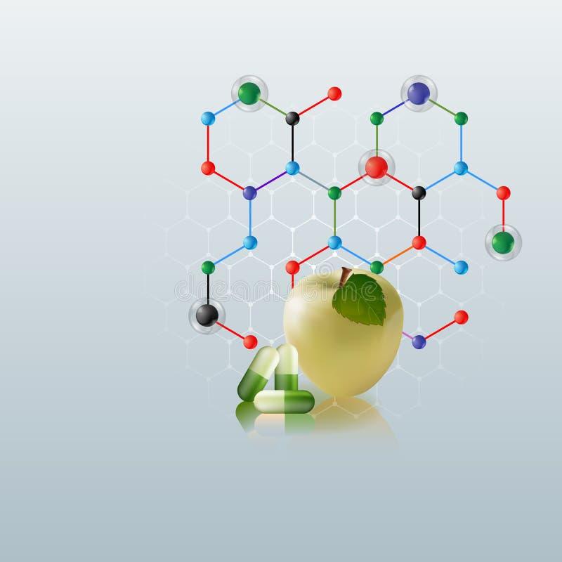 Komputerowa grafika, szablon opieki zdrowotnej tło z jabłkiem i zieleni pigułki,