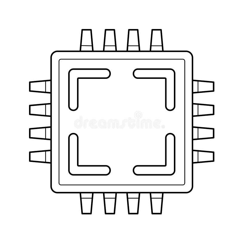 Komputerowa jednostka centralna układu scalonego linii ikona ilustracji