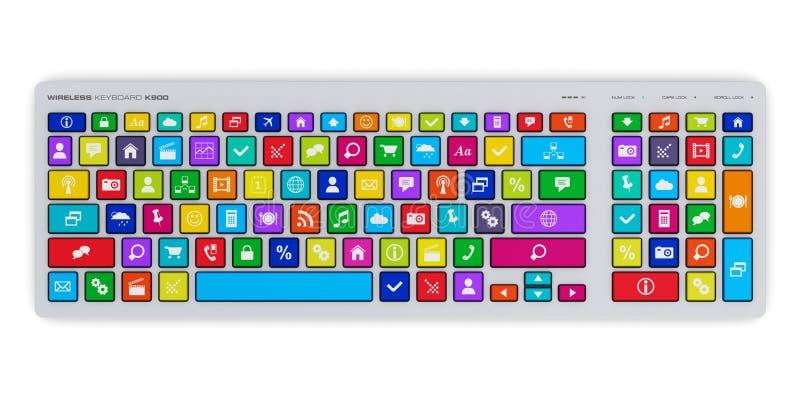 Komputerowa klawiatura z kolorów środków ogólnospołecznymi kluczami ilustracja wektor