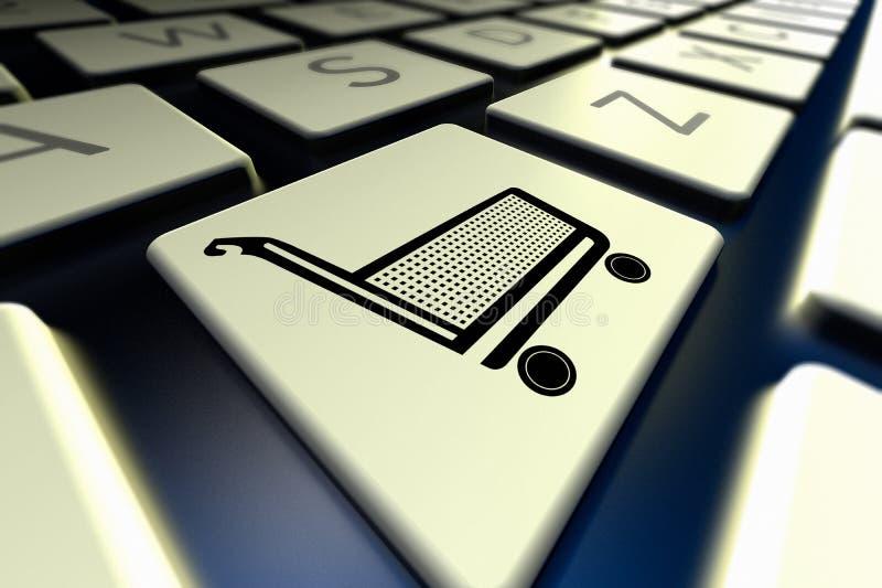 Komputerowa klawiatura z zakupy karty ikoną royalty ilustracja