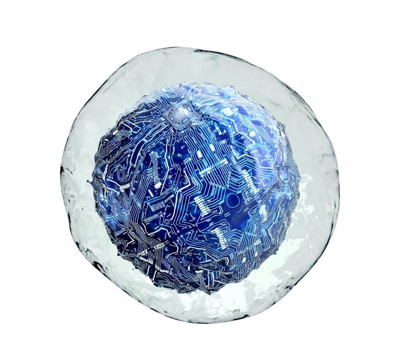 Komputerowa komórka wśrodku ludzkiej komórki na bielu royalty ilustracja