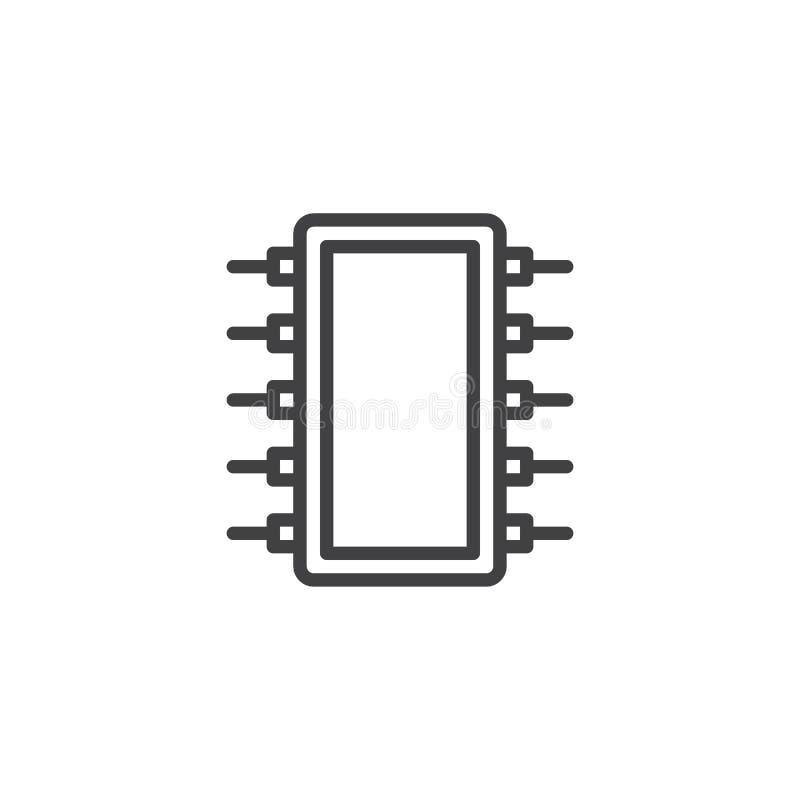 Komputerowa mikroukład linii ikona royalty ilustracja