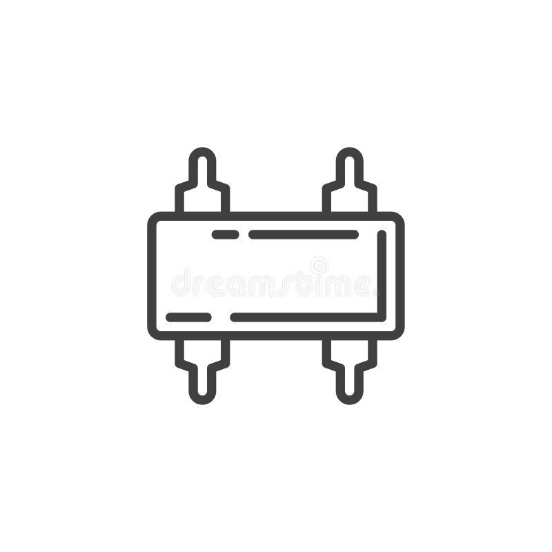 Komputerowa mikrouk?ad linii ikona ilustracji