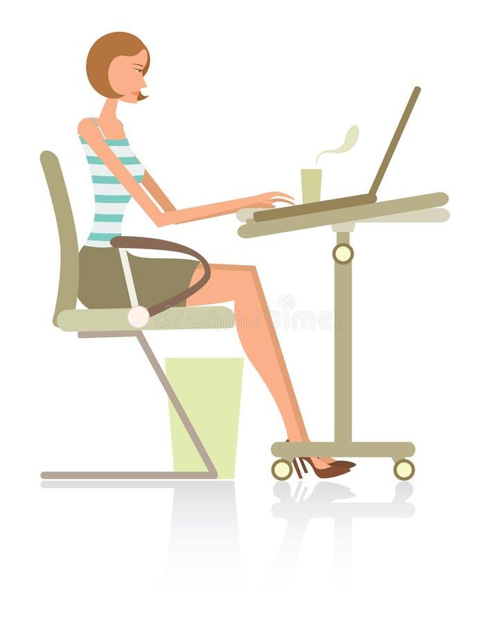 komputerowa modna kobieta royalty ilustracja