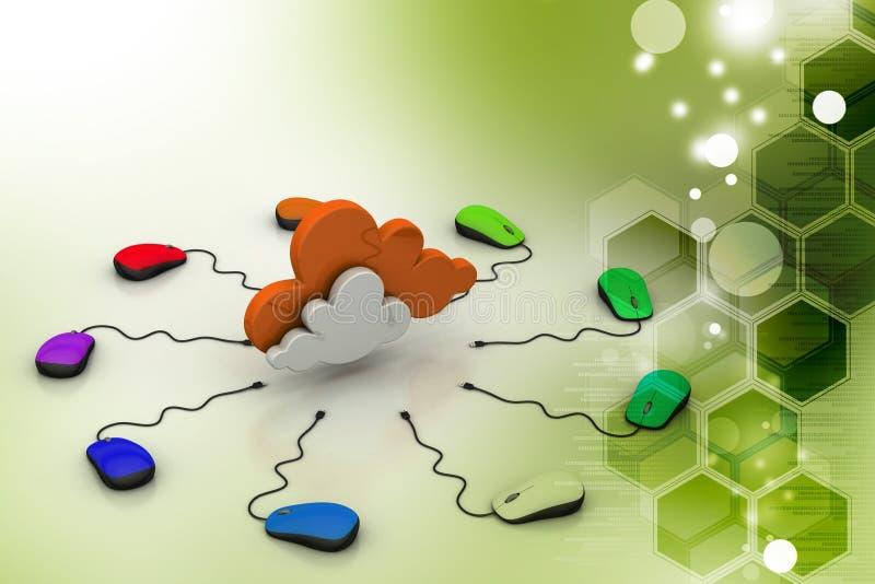 Komputerowa mysz łącząca chmura ilustracji