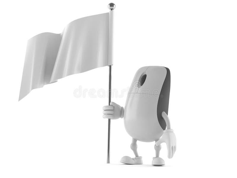 Komputerowa mysz charakteru mienia biała flaga ilustracja wektor