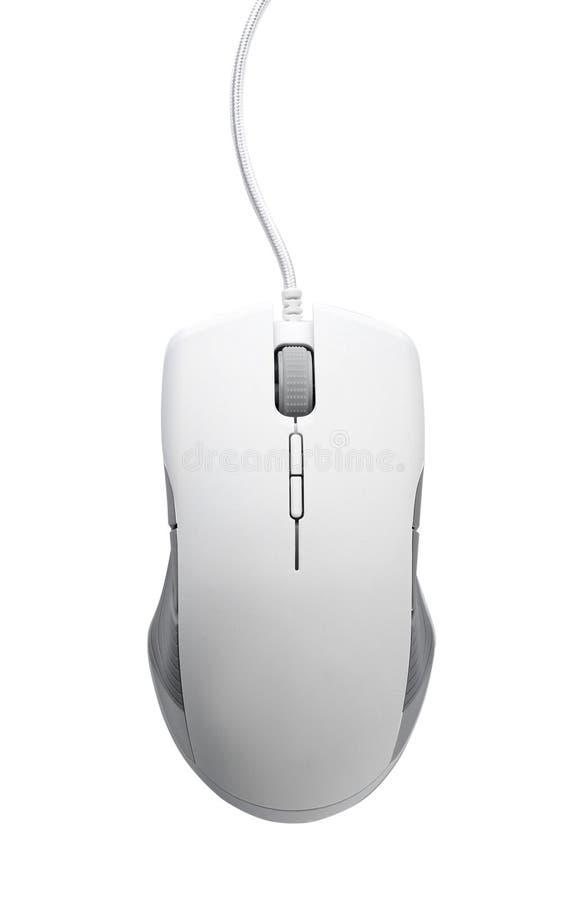 Komputerowa mysz na białym tle, odgórny widok obraz stock