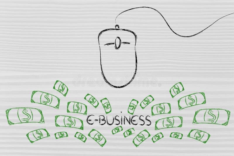 Komputerowa mysz: pojęcie wynagrodzenie na stuknięcie przez tempa i ilustracji