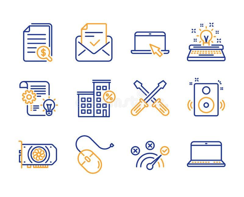 Komputerowa mysz, Przeno?ny komputer i Zatwierdzone poczt ikony ustawiaj?ca, Gpu, Cogwheel i Poprawnej odpowiedzi znaki, wektor royalty ilustracja