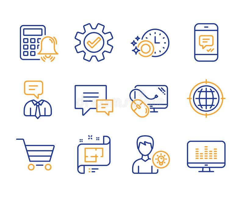 Komputerowa mysz, sprzedaż ikony ustawiać, komentarza i rynku Osoba pomysł, internet, wiadomości i Seo podpisujemy wektor ilustracji