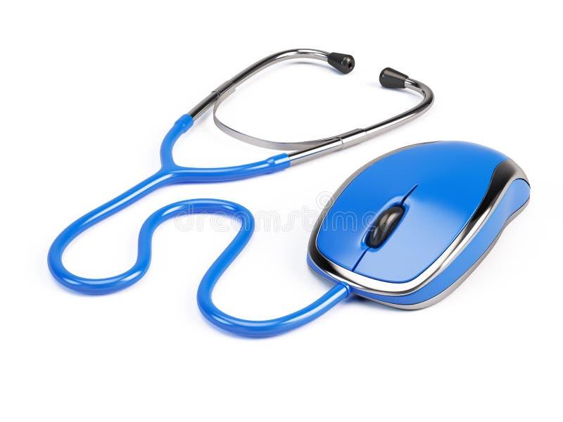 Komputerowa mysz - stetoskop royalty ilustracja
