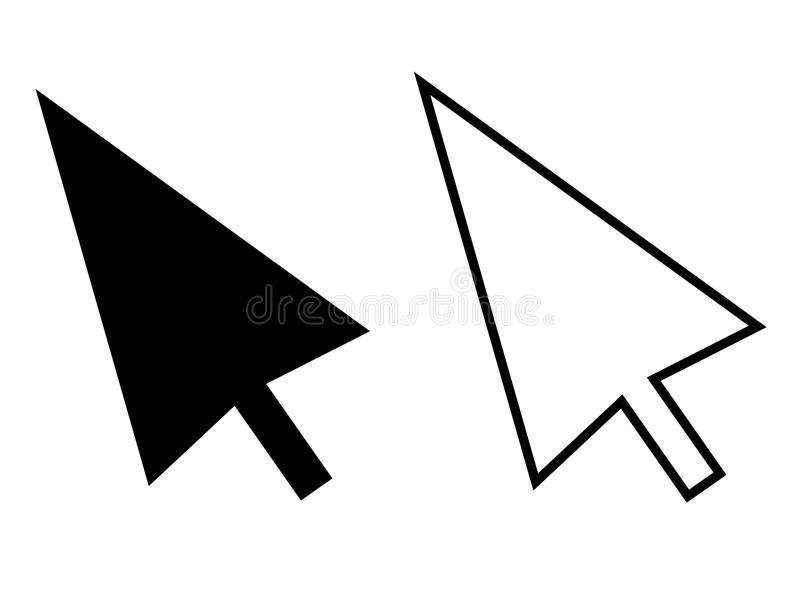 Komputerowa myszy stuknięcia pointeru kursoru strzała na białym tle f royalty ilustracja