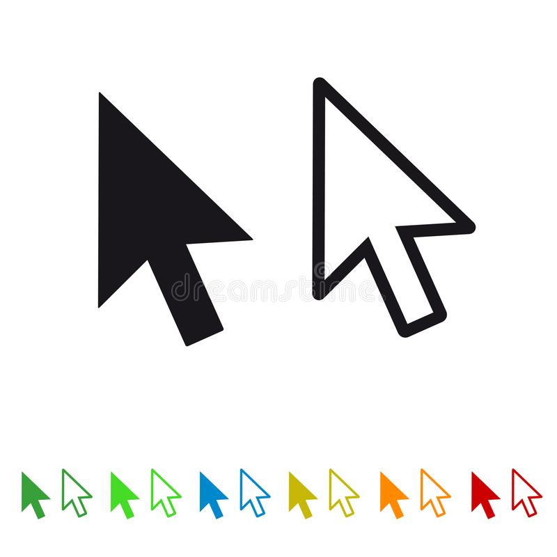 Komputerowa myszy stuknięcia pointeru strzała - Płaska ikona Dla Apps I stron internetowych royalty ilustracja