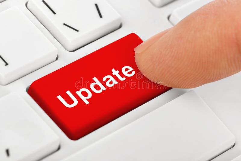 Komputerowa notatnik klawiatura z aktualizacja kluczem obraz stock