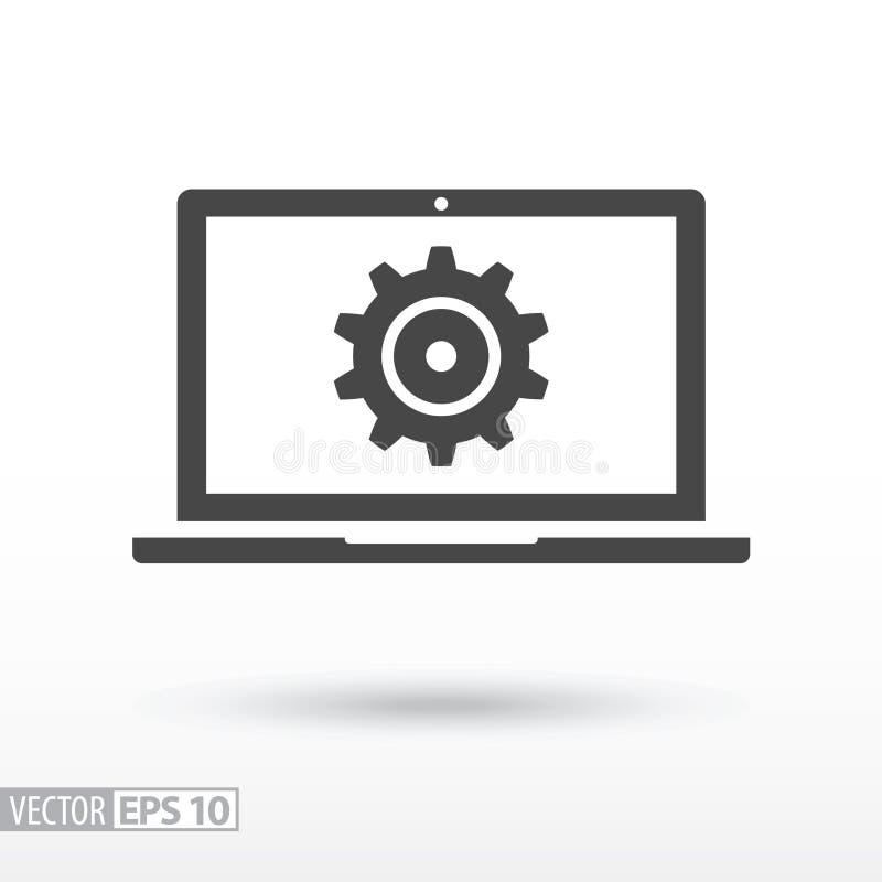 Komputerowa płaska ikona Szyldowy komputer Wektorowy logo dla sieć projekta, wiszącej ozdoby i infographics, royalty ilustracja