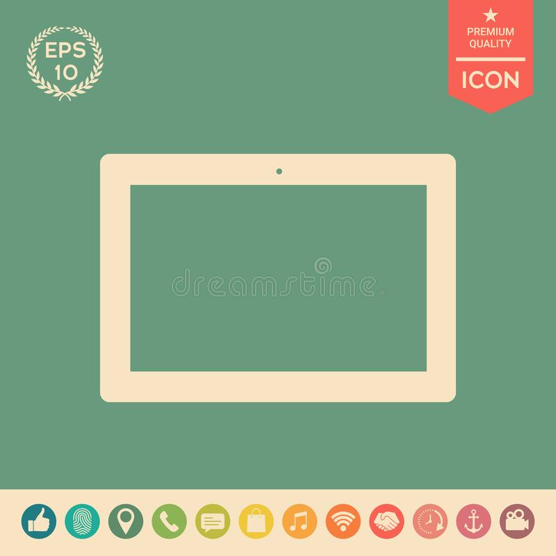 Komputerowa pastylka z pustym ekranem, ikona royalty ilustracja