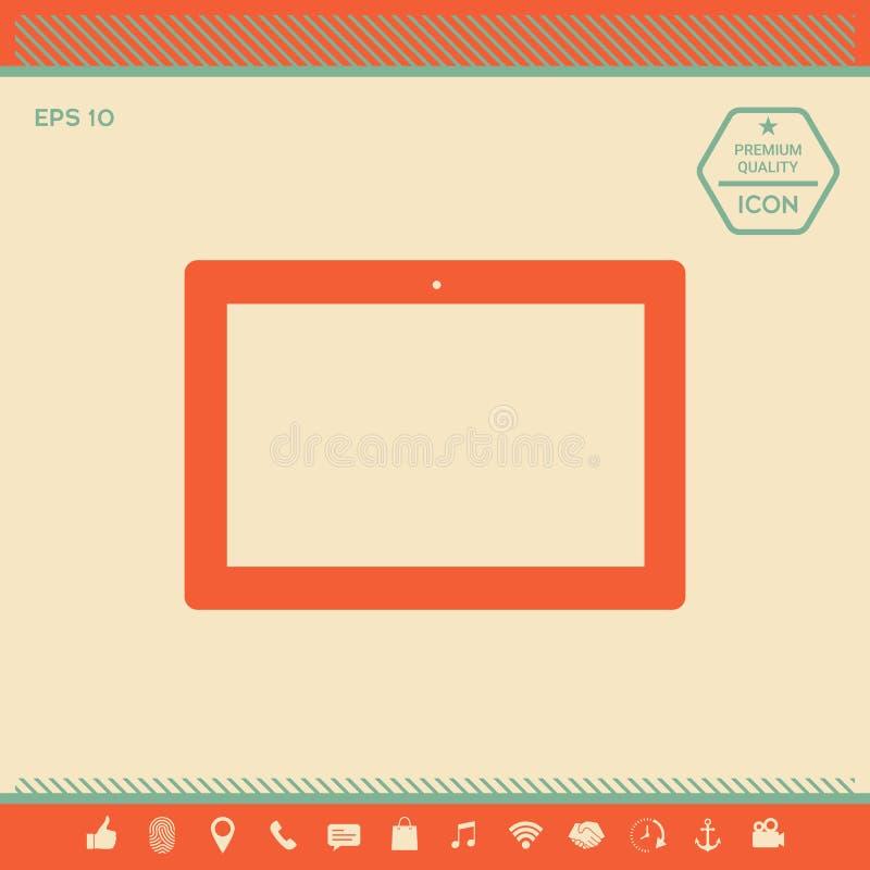 Komputerowa pastylka z pustym ekranem, ikona ilustracja wektor