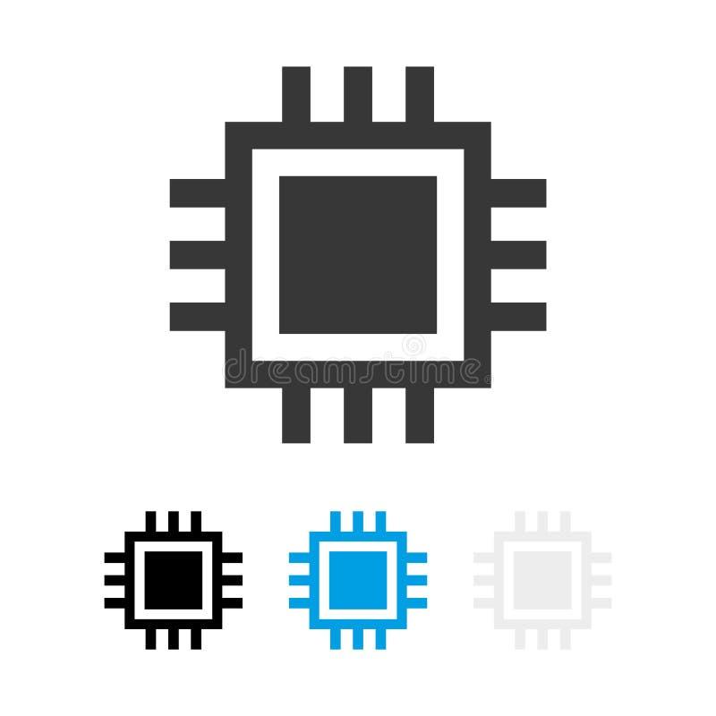 Komputerowa procesor ikona E Układ scalony odosobniona minimalna ikona r ilustracja wektor